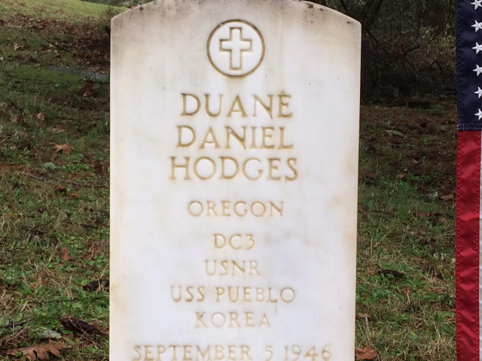 Petty Officer Duane Hodges, 21, of Creswell, Oregon, died Jan. 23, 1968, when North Korea attacked the USS Pueblo. The rest of the crew endured 11 months of captivity before being released. People gathers in Creswell on Tuesday to remember Hodges. (SBG)