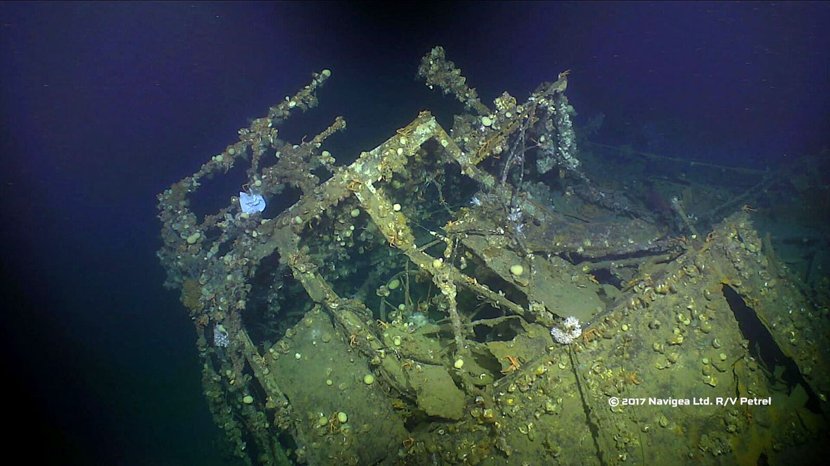 Photo from Paul Allen's research team shows the marine growth-encrusted wheelhouse of the USS Ward.<p></p>