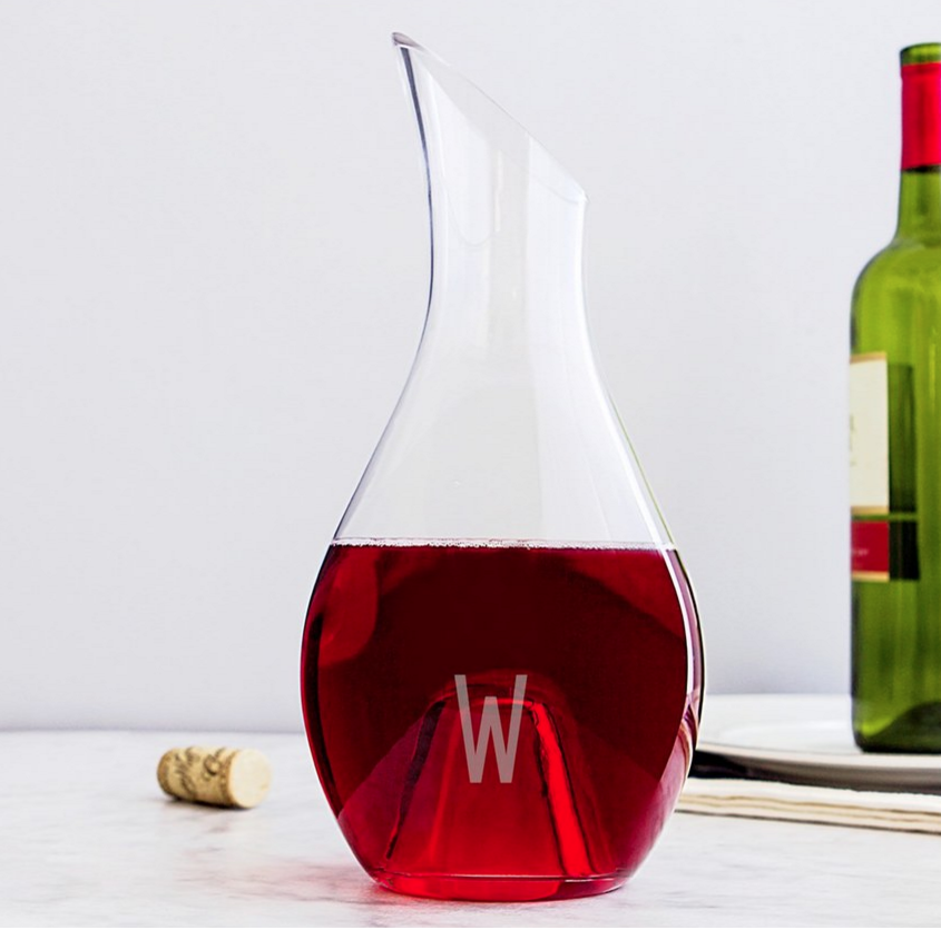 CATHY'S CONCEPTS Monogram Aerating Wine Decanter ($43.95). Find on nordstrom.com. (Image: Nordstrom)