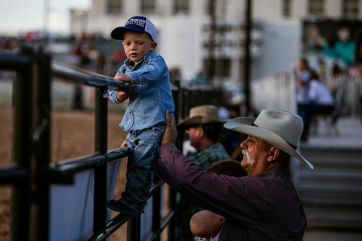 Lafe Bradshaw, 2, and Richard Workman watch day one of the Las Vegas Days Rodeo at the Plaza Hotel CORE Arena on Friday May 10, 2019. Las Vegas Days, formerly known as Helldorado Days, is an annual cowboy-themed event celebrating Las Vegas? tribute to the Wild West. CREDIT: Joe Buglewicz/Las Vegas News Bureau