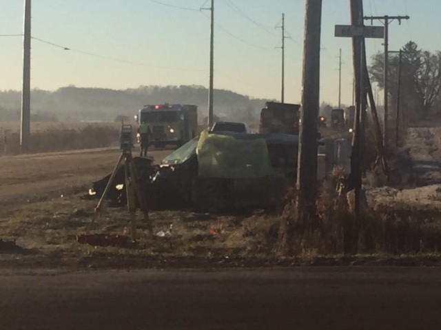 A woman was killed and her two children injured after colliding with a semi near Hartford Friday. (WWMT/Jessica Wheeler)