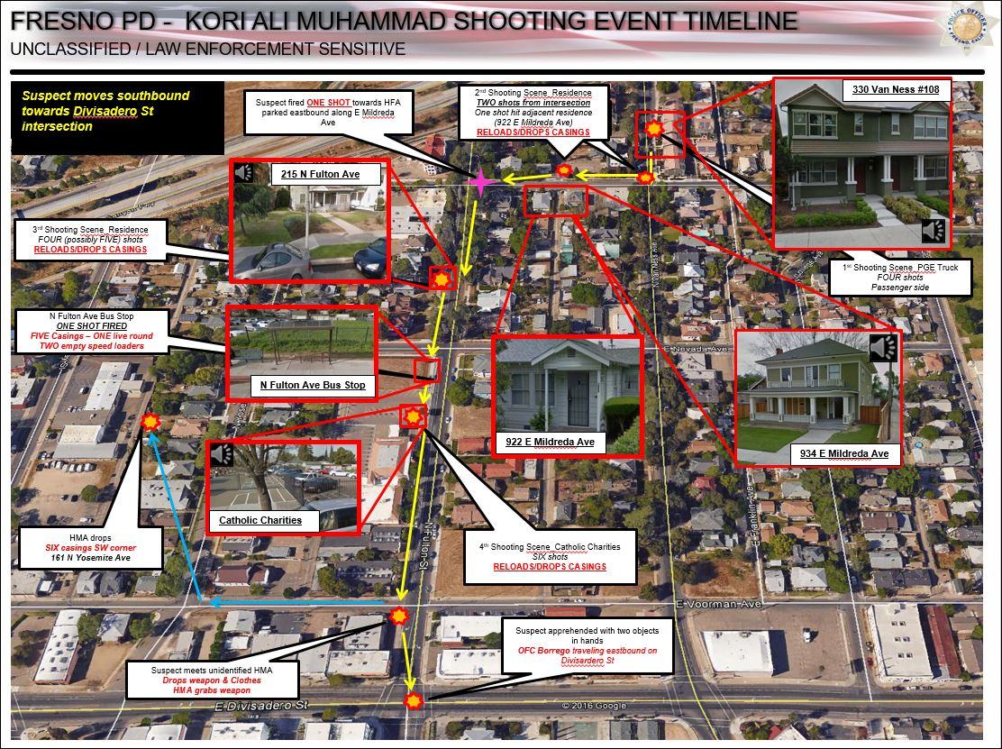 Detailed map of shooting suspect Kori Muhammad's movements (Photo Fresno Police)