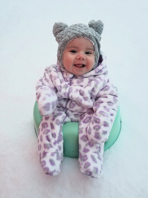 Photo: Courtney Nicole Nix, Blakely's first snow from Inman, SC<p></p>