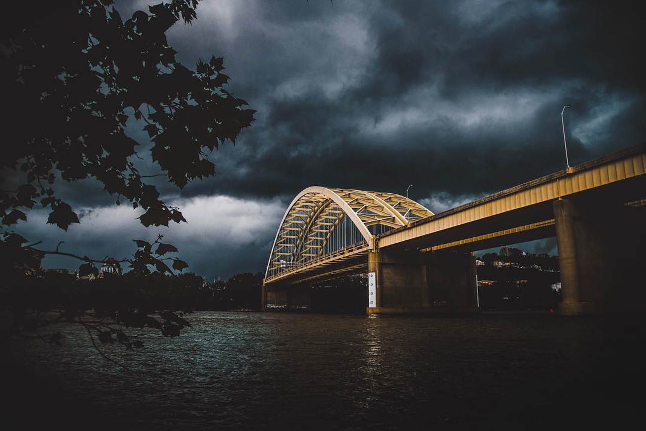 The bright yellow Daniel Carter Beard Bridge, aka The Big Mac Bridge, looks like it could star in its own spooky thriller in this ominous shot. / Image courtesy of Instagram user @shaynartker // Published: 3.20.19