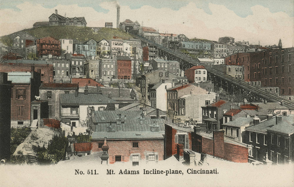A colorized version of a black & white photo shows the incline bisecting a dense series of homes along the western edge of Mt. Adams. / Image courtesy of the Public Library of Cincinnati and Hamilton County // Published: 1.2.19