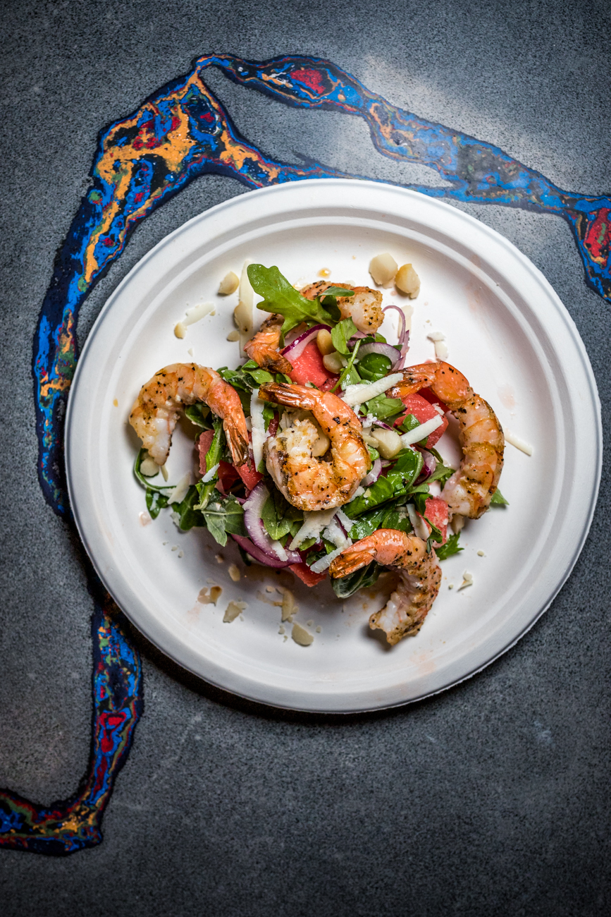 Grilled Shrimp and Watermelon salad with red onion, macadamia nuts, cotija, and jalapeño lime vinaigrette / Image: Catherine Viox // Published: 9.12.20
