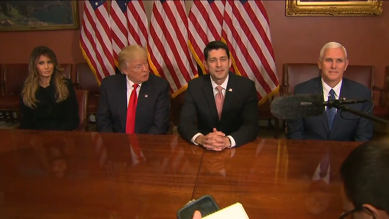 Paul Ryan gave Donald Trump, Mike Pence and Melania Trump a tour of the office before sitting down to answer questions from reporters. (CNN Newsource)