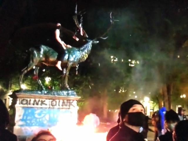 Elk statue damage - Photo from Portland Police