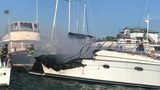 Boat sinks after catching fire near Folly Beach at Sunset Cay Marina