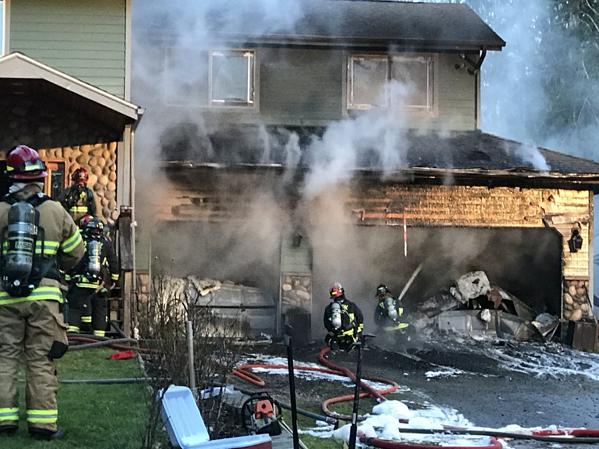 A 17-year-old boy and the family's dog managed to escape a burning home in Bremerton Monday afternoon, Jan. 22, 2018. (Photo: Central Kitsap Fire & Rescue)