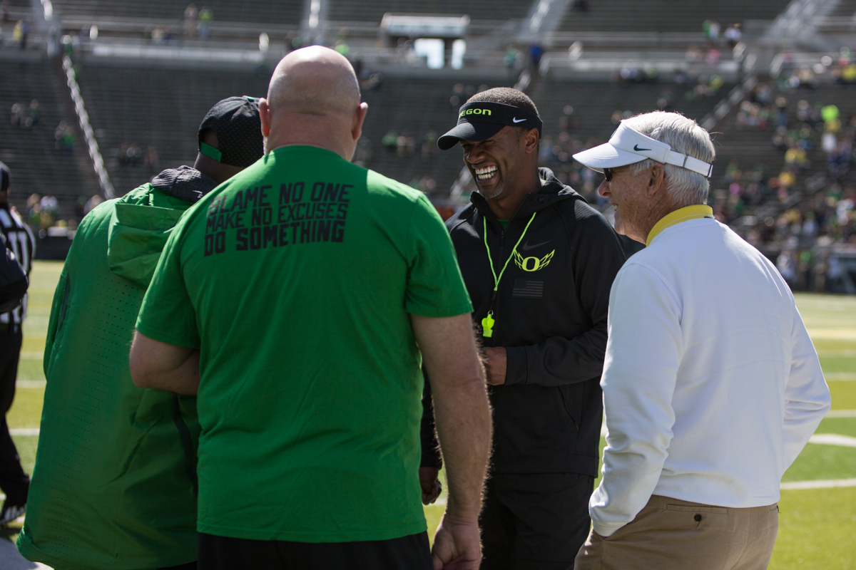 New Oregon Ducks Head Coach Willie Taggart visits with donors and coaching staff members before kickoff. The 2017 Oregon Ducks Spring Game provided fans their first look at the team under new head coach Willie Taggart's direction.  Team Free defeated Team Brave 34-11 on a sunny day at Autzen Stadium in Eugene, Oregon.  Photo by Austin Hicks, Oregon News Lab