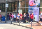 At least 50 people were in line just before Noon, excited to support Republican candidate Donald Trump at his visit to Asheville. (Photo credit: WLOS Staff)