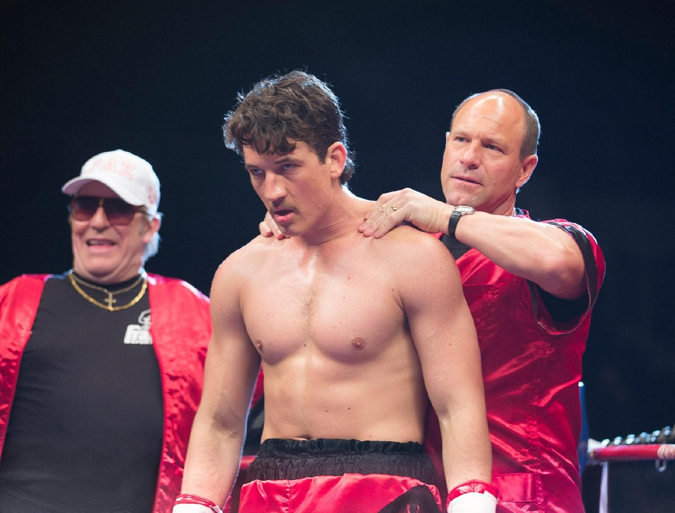 "Ciarán Hinds, Miles Teller and Aaron Eckhart in ""Bleed for This."" (Photo Credit: Seacia Pavao Courtesy of Open Road Films)"