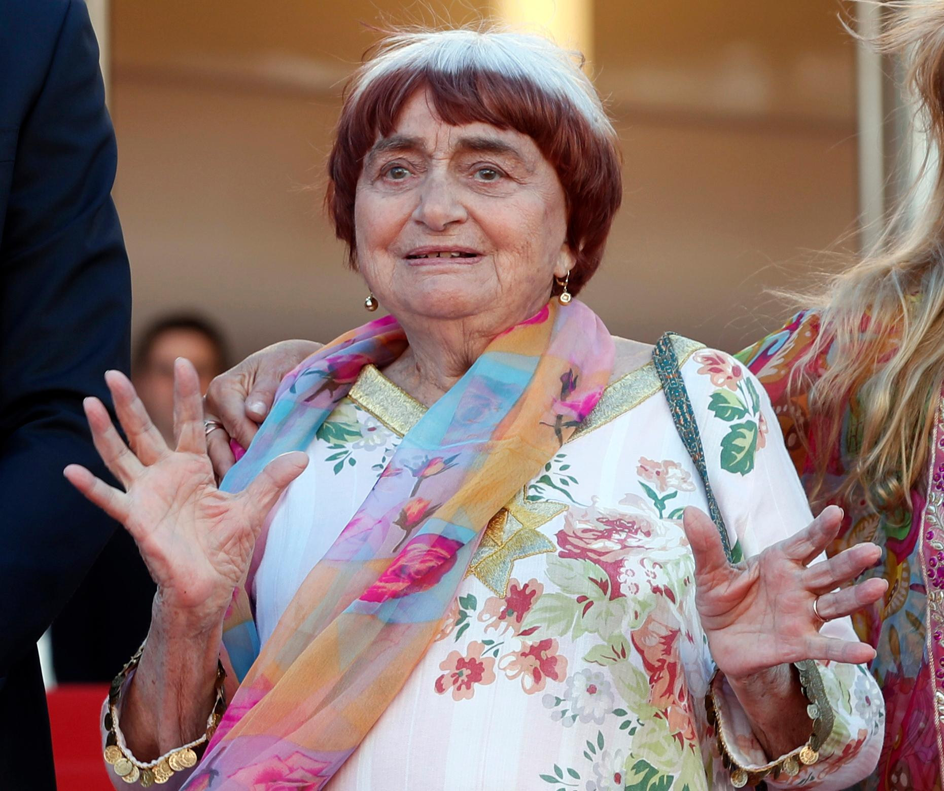 FILE - In this May 19, 2017 file photo, filmmaker Agnes Varda appears at the screening of the film &quot;Visages, Villages,&quot; at the 70th international film festival, Cannes, southern France.{&amp;nbsp;} (AP Photo/Thibault Camus, File)<p></p>