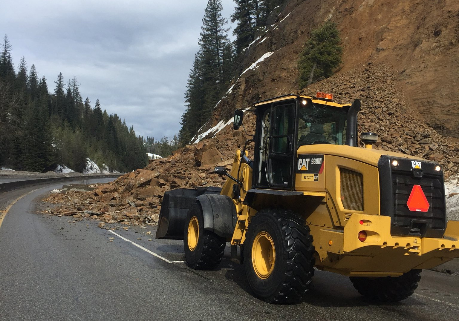 A rock slide is blocking westbound lanes along Interstate-90 in northern Idaho near 4th of July Pass. Idaho Transportation Department officials say traffic could be reduced to one lane in the area for as much as three days. (ISP photo)