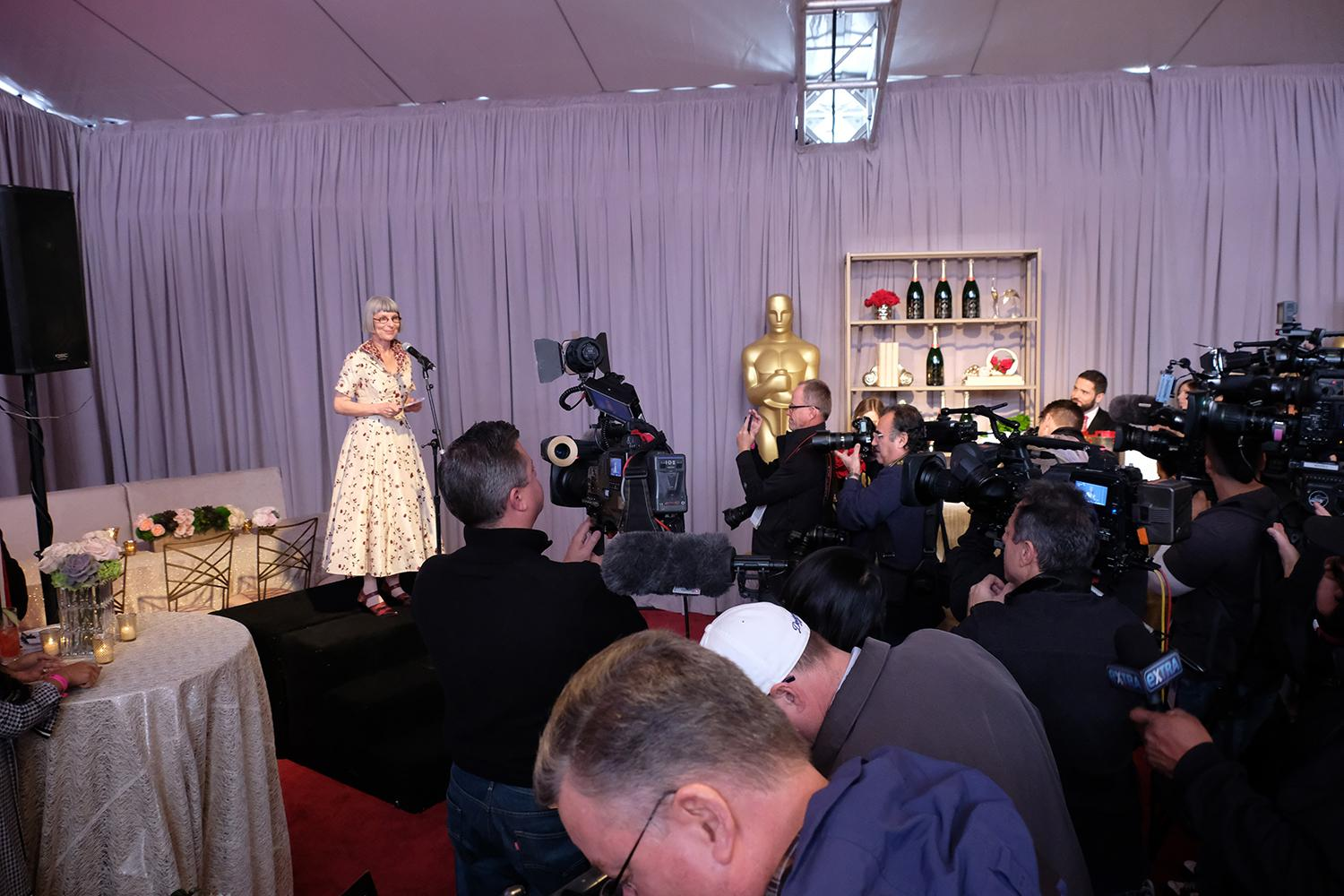 Academy's Awards and Events Committee chair, Lois Burwell during the Academy's Governors Ball preview on Thursday, March 1, 2018. The Academy's Governors Ball will be held in the Ray Dolby Ballroom on the top level of the Hollywood & Highland Center®. The 90th Oscars® for outstanding film achievements of 2017 will be presented on Sunday, March 4, 2018 at the Dolby Theatre® in Hollywood, CA and televised live by the ABC Television Network.