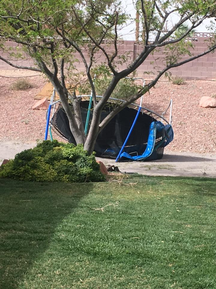 Trampoline down in neighborhood (Rhonda Lamboo)