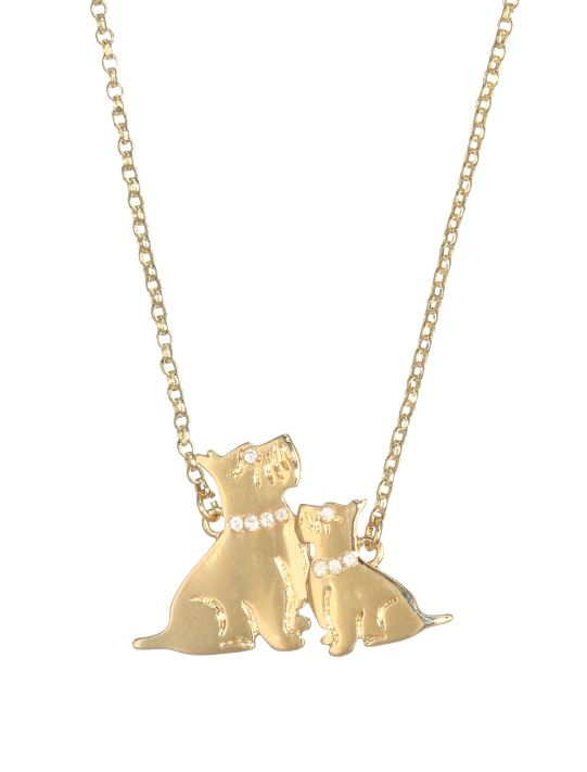 Calling all dog moms! This 17 inch 12-karat gold plated metal pendant shows a mom dog and her pup with dog collars for pave stones. The pendant combines classy and cute for a nice addition to any outfit. (Image: Courtesy Saks{ } Fifth Avenue)