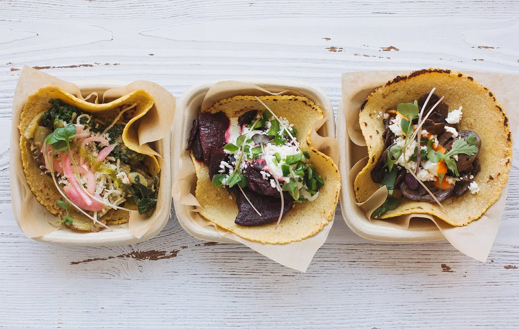 Favorites from the Georgetown location will still be available: (from L to R) creamy kale and potato with pepperjack, poblano crema, salsa verde, and pickled onion; citrus-roasted Beet with ricotta salata, cilantro-lime yogurt and jalapeño; and braised mushroom with feta, salsa roja and cilantro. (Image: Maya Oren)