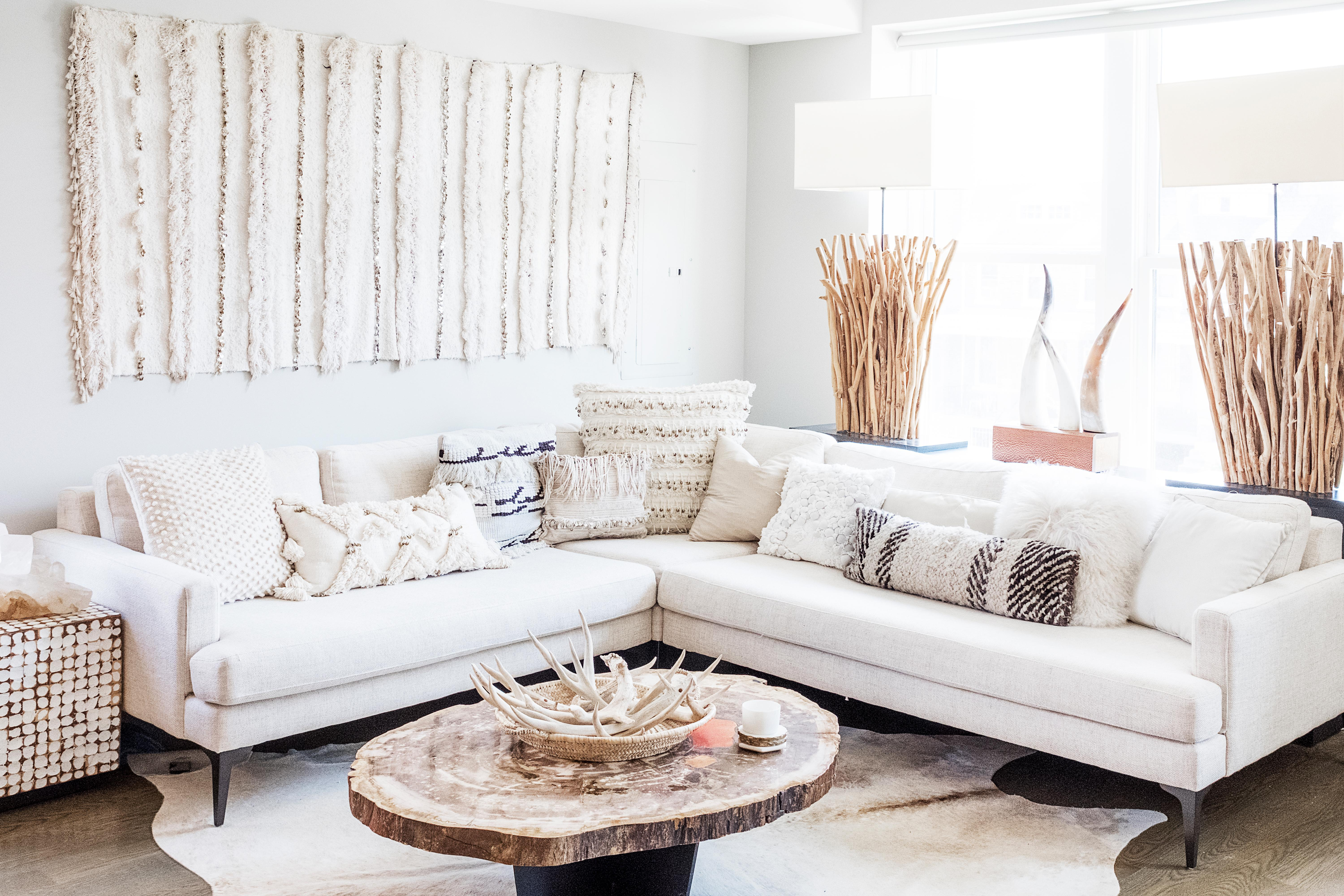 You can change up the styling of your couch each season with little to no effort or expense. (Image: Ashley Hafstead)