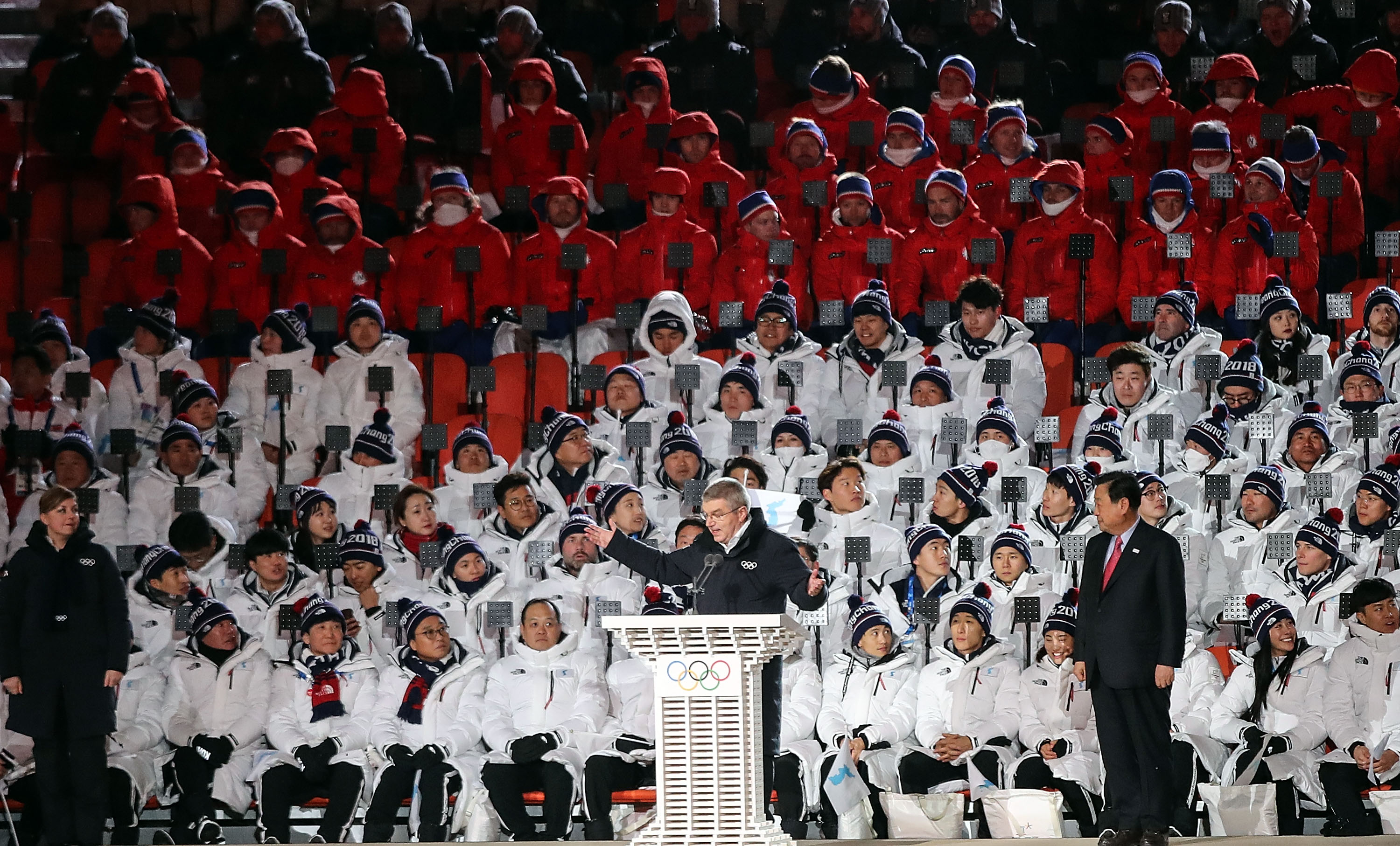PYEONGCHANG-GUN, SOUTH KOREA - FEBRUARY 09:  IOC President Thomas Bach speaks during the Opening Ceremony of the PyeongChang 2018 Winter Olympic Games at PyeongChang Olympic Stadium on February 9, 2018 in Pyeongchang-gun, South Korea.  fee liable image, copyright © ATP  Amin JAMALI  XXIII. OLYMPIC WINTER GAMES PYEONGCHANG 2018: OPENING CEREMONY,  PyeongChang, Korea, Winter Olympics; PyeongChang Olympic Stadium, on 9. February 2018, fee liable image, copyright © ATP / Amin JAMALI  Featuring: IOC President Thomas Bach speaks Where: Pyeongchang, Gangwon Province, South Korea When: 09 Feb 2018 Credit: ATP/WENN.com  **Not available for publication in Germany or France. No Contact Music.**