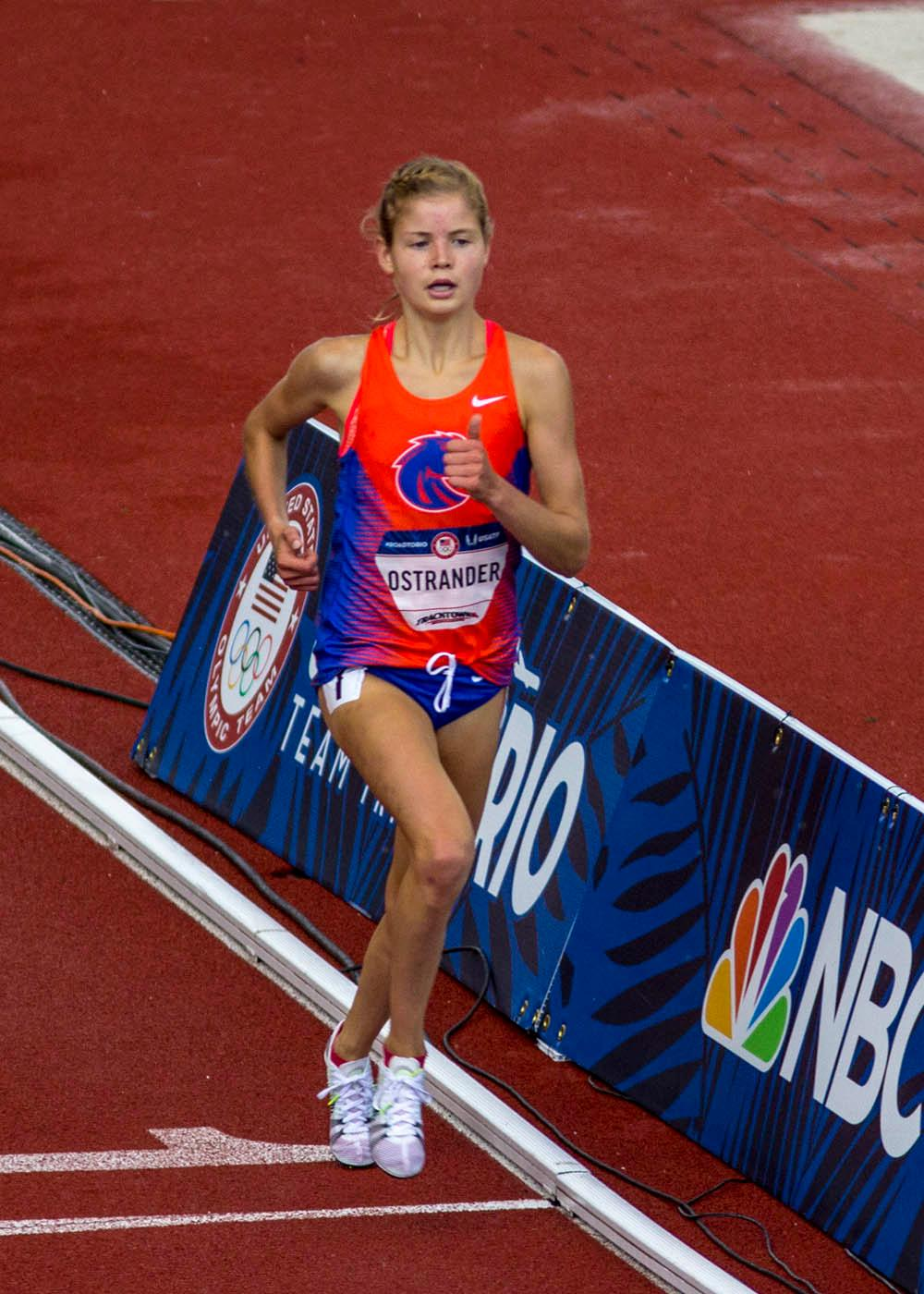 Boise State�s Allie Ostrander races in the Women�s 5000m Run final. Ostrander finished eighth with a time of 15:25.74. Day 10 of the U.S. Track and Field Trials concluded Sunday at Hayward Field in Eugene, Ore. The competition lasted July 1 through July 10. Photo by Amanda Butt