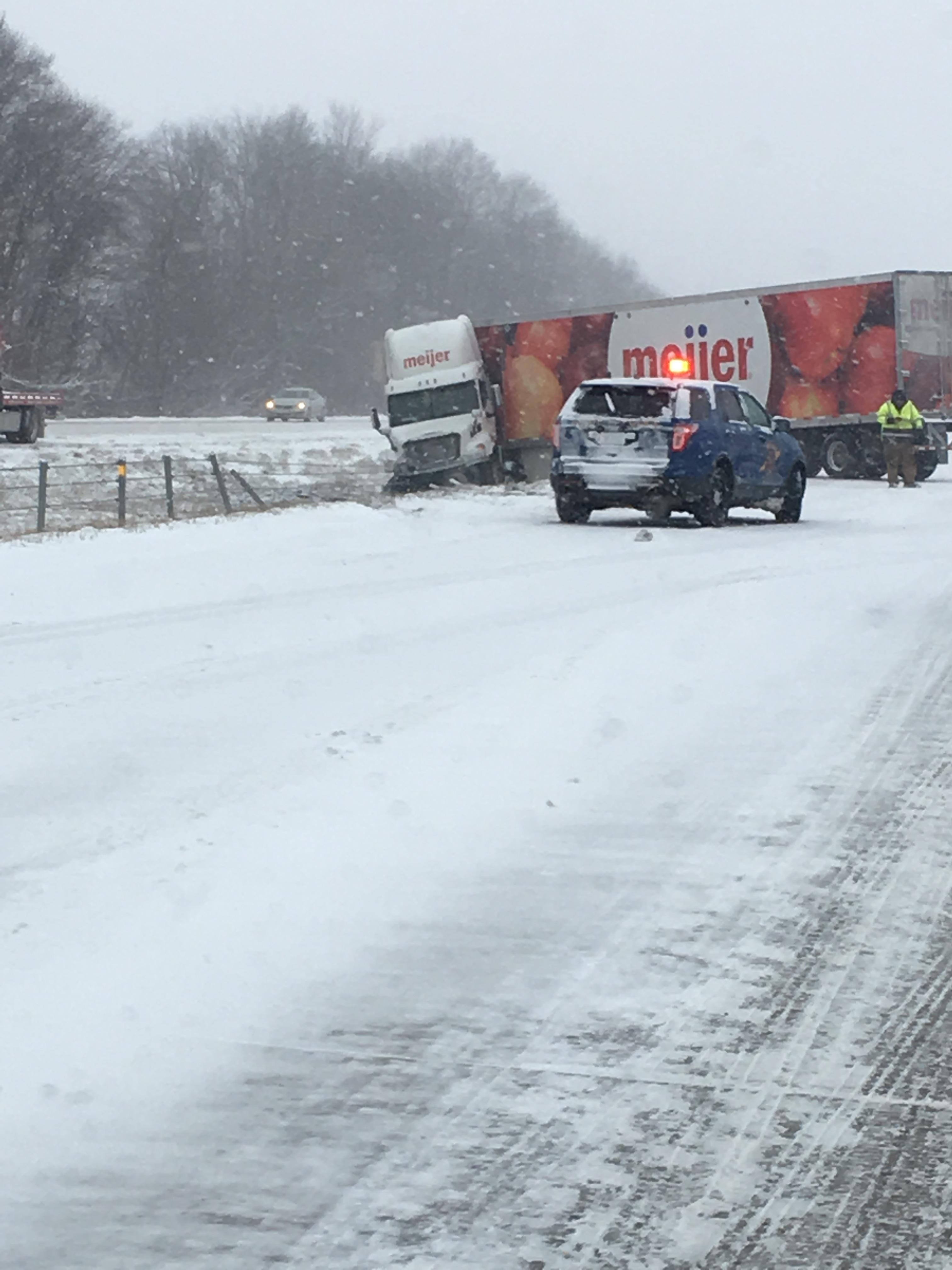 Several tractor-trailer trucks were involved in a crash in eastbound Interstate 96 on Friday, Jan. 12, 2018. (Contributed/Traci Holt)