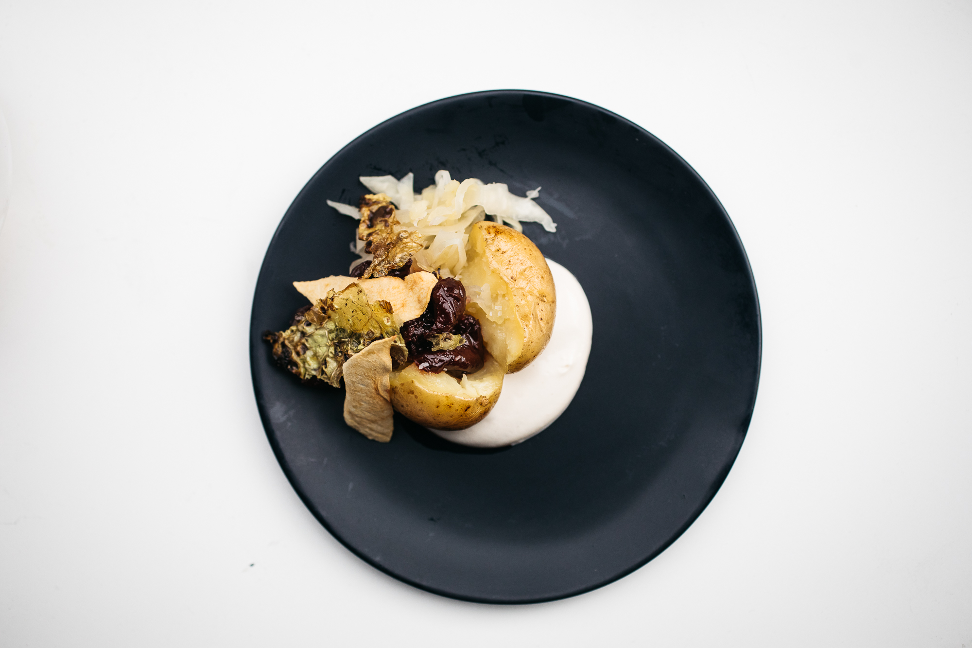 Course 7: Potato, cabbage and apple kraut with sour cherry yogurt and dried apples (Image: Betty Clicker Photography)