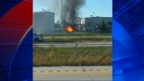 Firefighters try to douse fire at ethanol plant