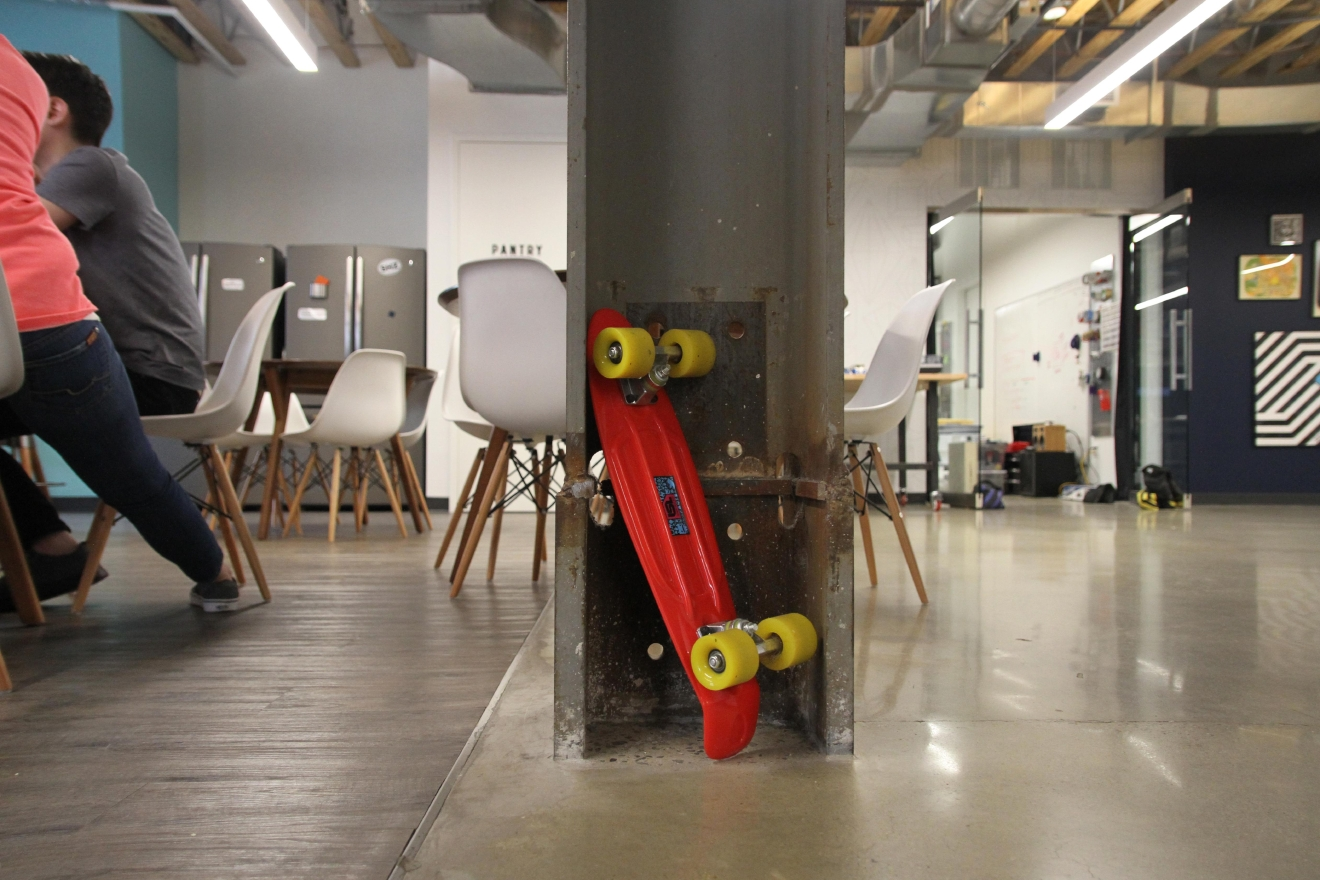 Many employees quickly navigate around the space using skateboards. (Amanda Andrade-Rhoades/DC Refined)