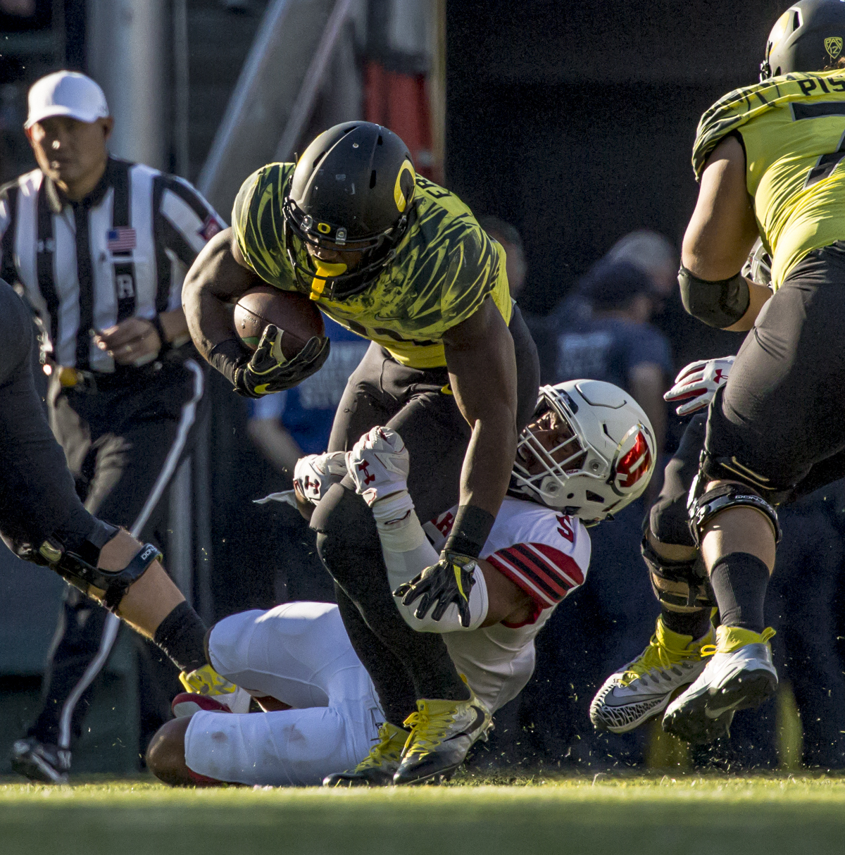 Oregon running back Royce Freeman (#21) attempts to brea free from a Utah defender. The Oregon Ducks lead the Utah Utes 17 to six at the end of the first half on a sunny afternoon at Autzen Stadium. Photo by Ben Lonergan, Oregon News Lab