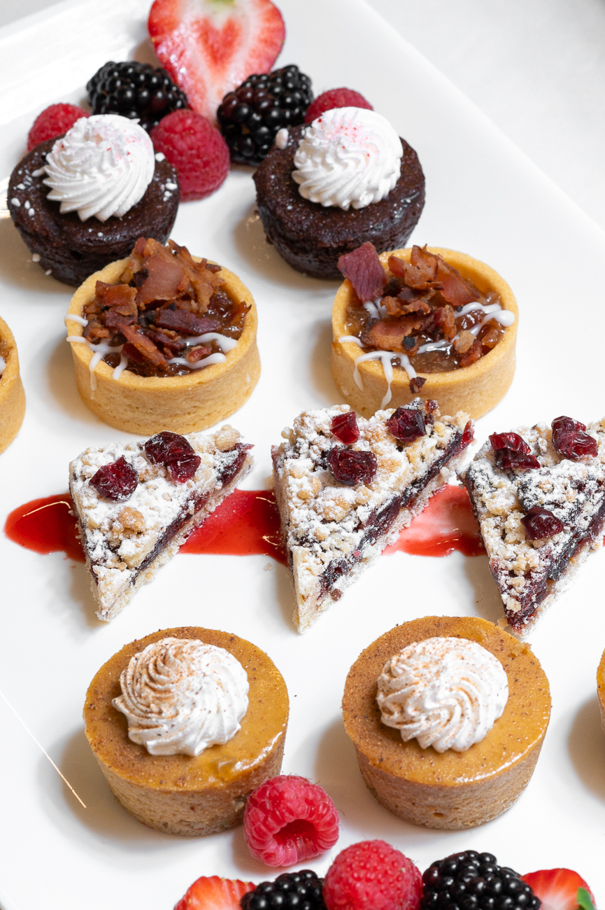 Chef's Choice offers various apps & platters that are available through the end of the year. Pictured: Peppermint brownie bites, bourbon bacon apple tarts, cranberry nut bars, and pumpkin cheesecake bites / Image: Phil Armstrong, Cincinnati Refined // Published: 11.6.20