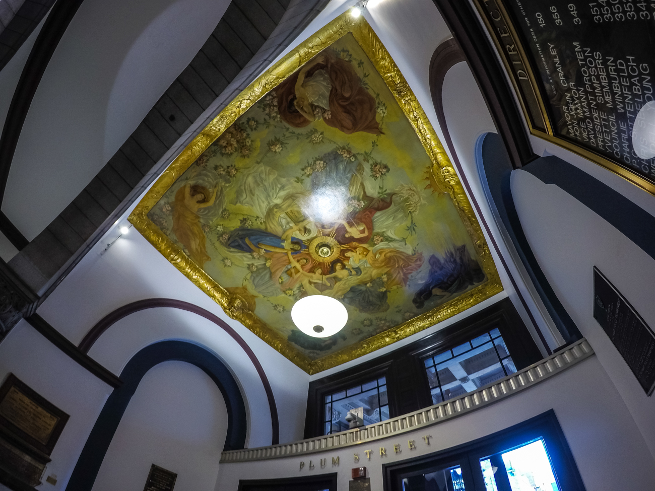 A breath-taking ceiling mural greets people as they enter the Plum Street entrance of City Hall. / Image: Phil Armstrong, Cincinnati Refined // Published: 1.20.17