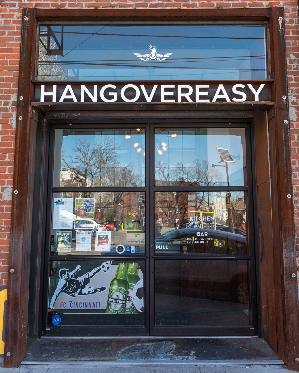 Hang Over Easy is on a side street directly off Short Vine. It's a bar and diner with breakfast food, Deeper Roots coffee, and it uses Eckerlins Meats from Findlay Market. It also features 39 beers on tap (including Jameson). ADDRESS: 13 W Charlton St, Cincinnati, OH 45219 / Image: Phil Armstrong, Cincinnati Refined // Published: 3.14.17lected)