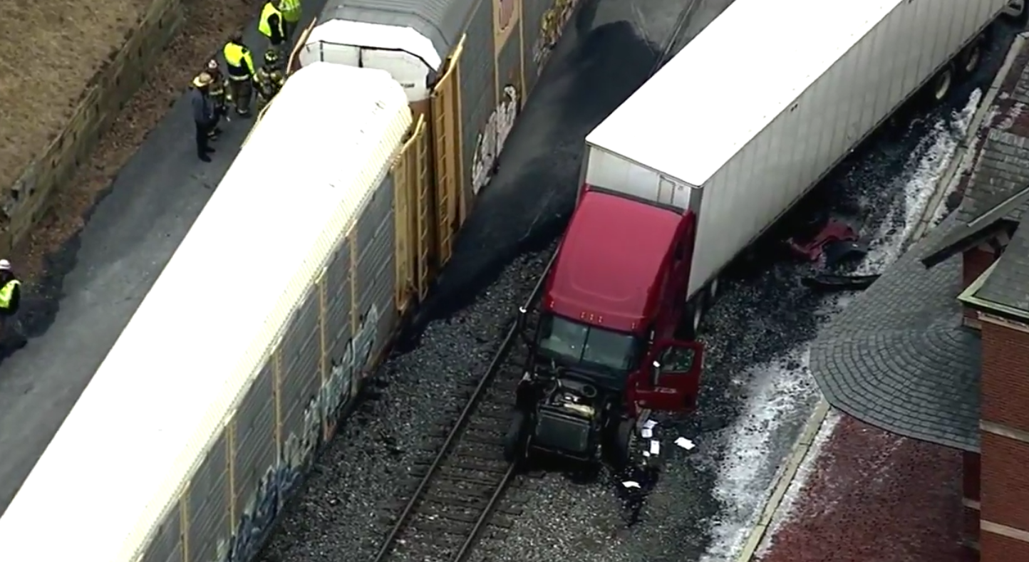 A semi-truck collided with a CSX train in Point of Rocks, Md.  Friday, Feb. 9, 2018 (SkyTrak7)