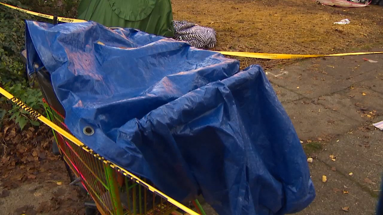 On Wednesday morning Seattle police, city workers dressed in haz-mat suits and counselors showed up in the park. Within three hours the narrow dirt plot where the tents, trash and people had been living was completely vacant. (Photo: KOMO News)