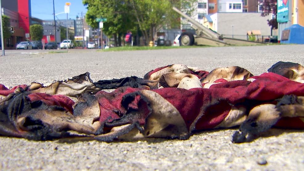 Homeless man burns American flag outside West Seattle veteran center