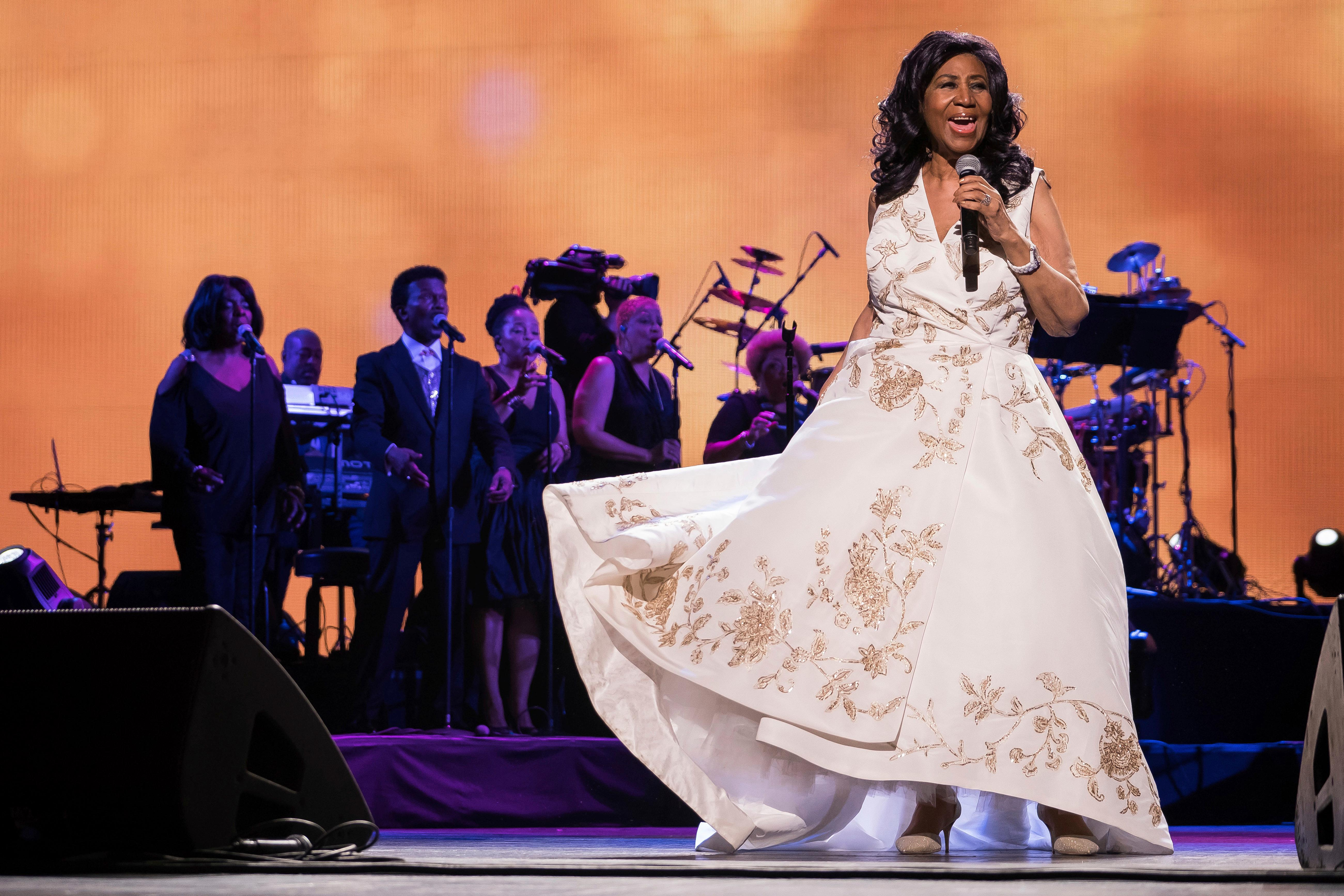 "FILE- In this April 19, 2017, file photo, Aretha Franklin performs at the world premiere of ""Clive Davis: The Soundtrack of Our Lives"" during the 2017 Tribeca Film Festival in New York. (Photo by Charles Sykes/Invision/AP, File)"