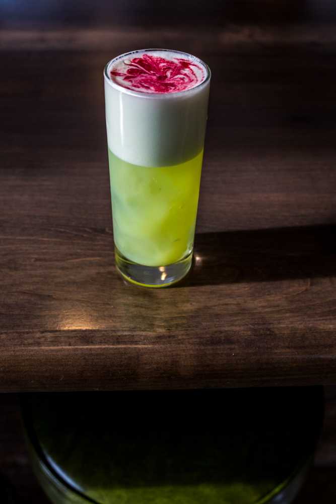 Midori Sour: Midori, Effen Cucumber, New Riff Kentucky Wild Gin, and house sour / Image: Catherine Viox // Published: 4.7.19