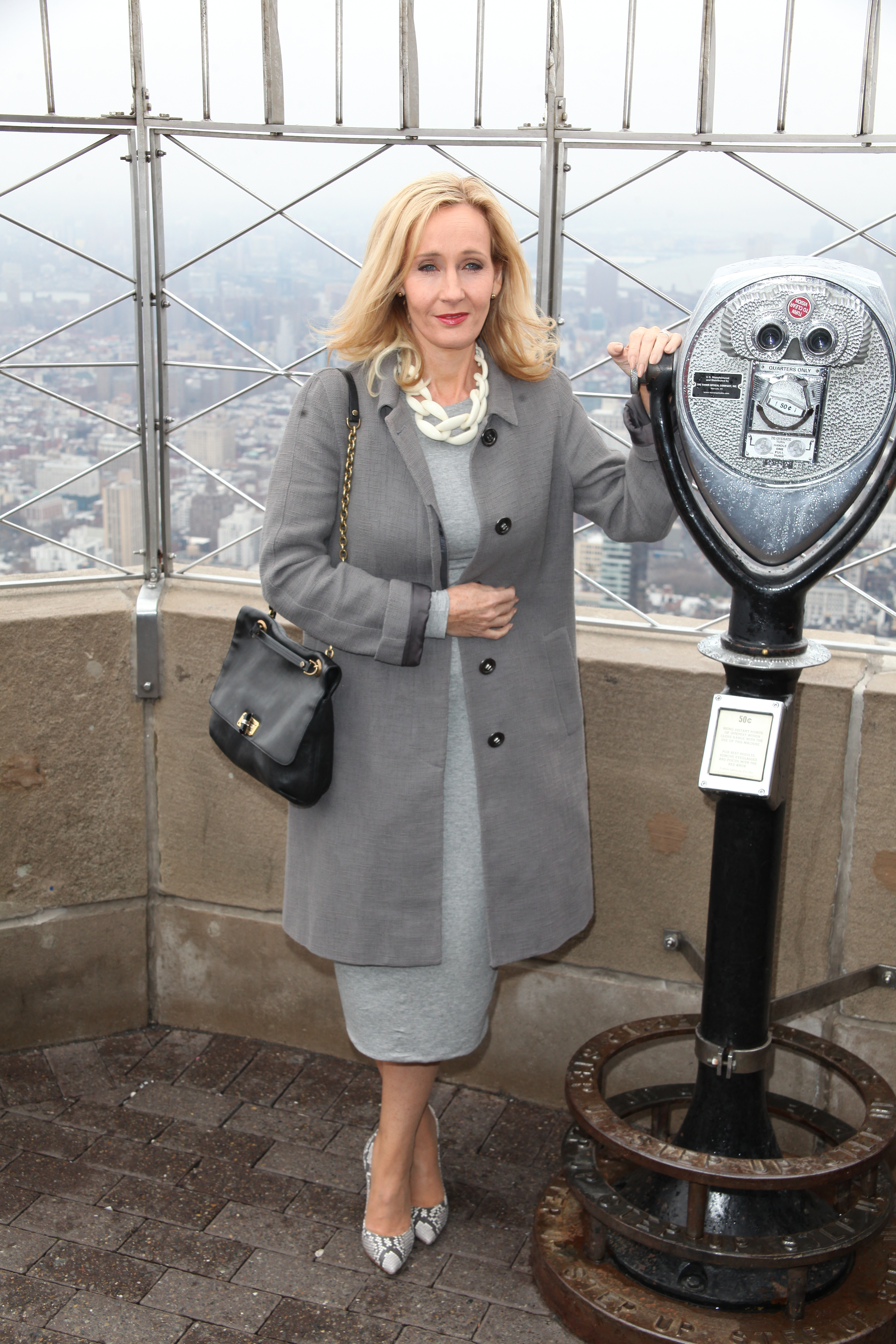 J.K. Rowling illuminates The Empire State Building to mark the USA launch of her non-profit children's organization 'LUMOS' at the Empire State Building in New York City  Featuring: J.K. Rowling Where: NYC, New York, United States When: 09 Apr 2015 Credit: PNP/WENN.com