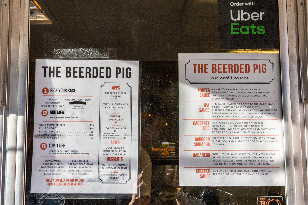 The menu for the Beerded Pig food truck /{ }Image: Catherine Viox{ }// Published: 7.19.19