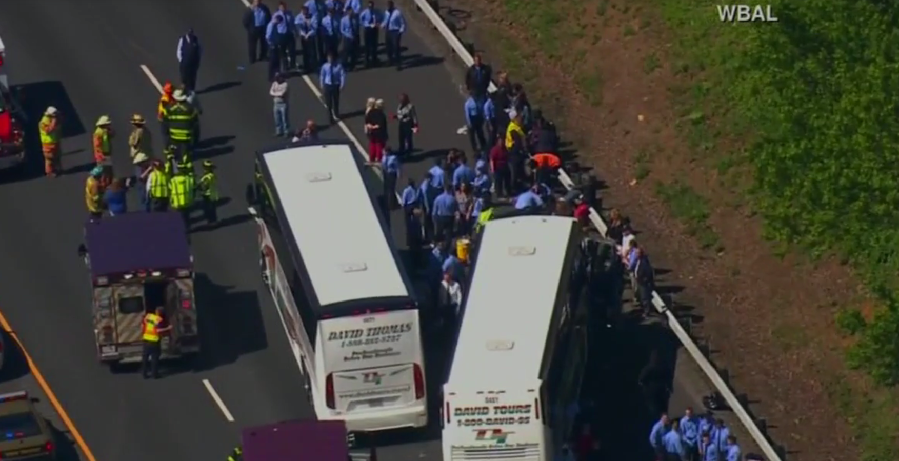 Commuter bus crashes on Md. interstate; multiple injuries reported Monday, May 15, 2017. (CNN Newsource)