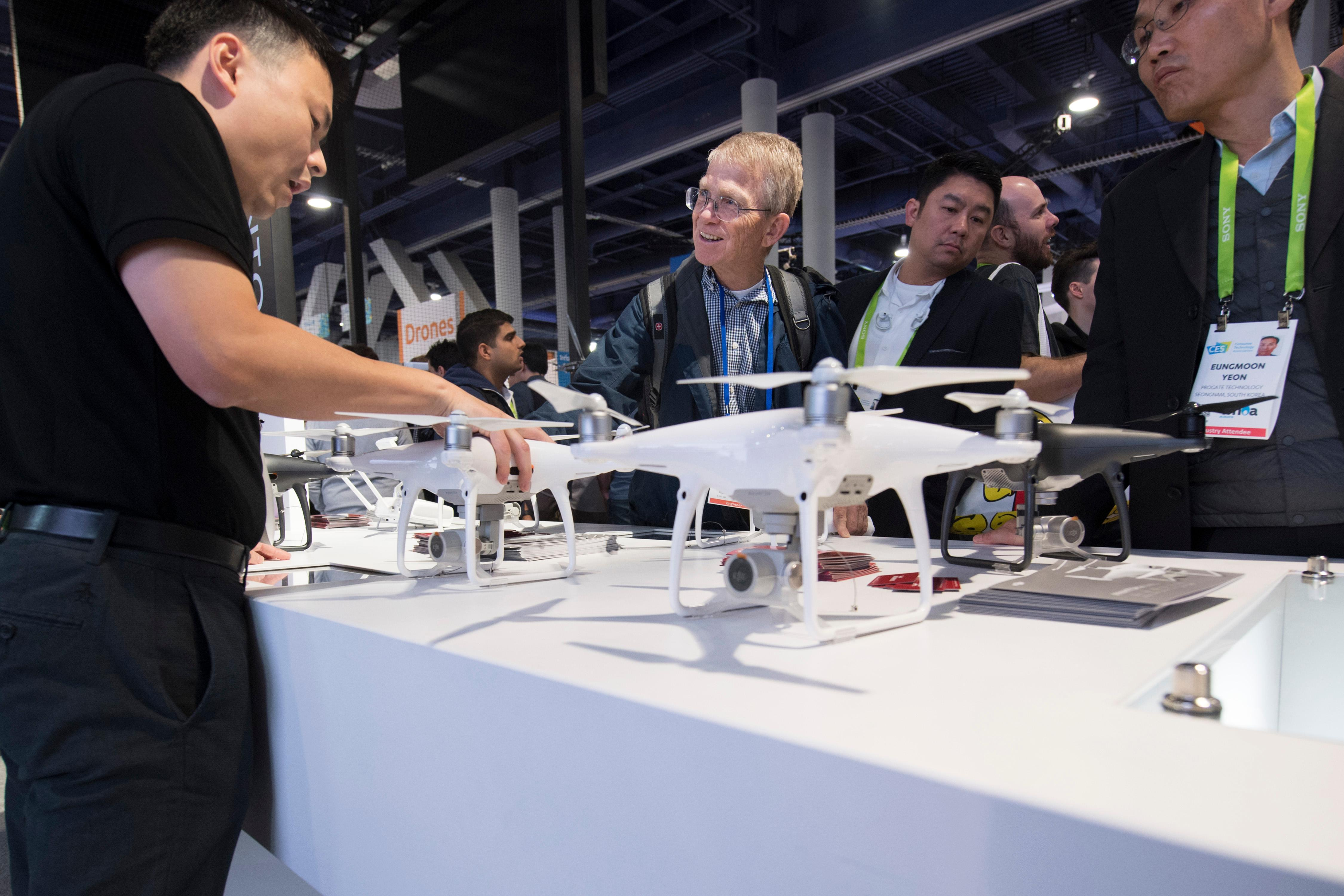 The Phantom 4 drone from DJI is demonstrated during the second day of CES Wednesday, January 10, 2018, at the Las Vegas Convention Center. CREDIT: Sam Morris/Las Vegas News Bureau