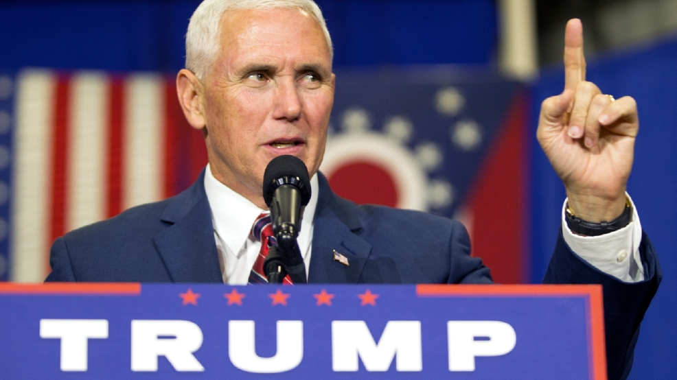 republican vice presidential candidate indiana gov mike pence speaks