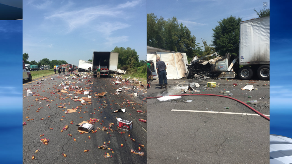 fireball whisky covers interstate after big rigs crash in central
