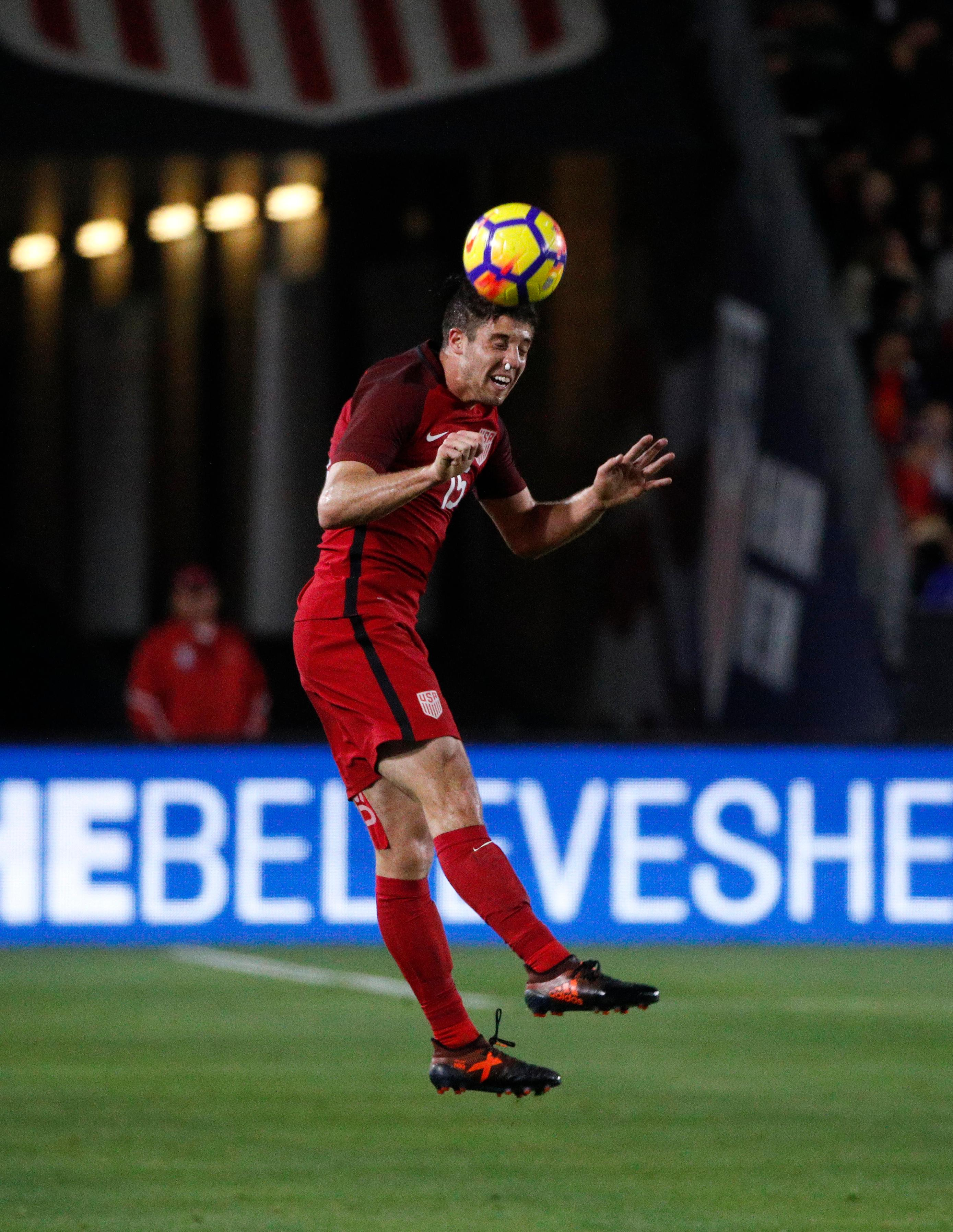 United States defender Matt Polster heads the ball during the second half of an international friendly soccer match against Bosnia and Herzegovina Sunday, Jan. 28, 2018, in Carson, Calif. The game ended in a 0-0 draw. (AP Photo/Jae C. Hong)