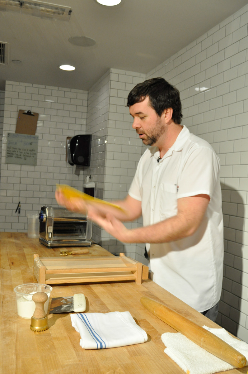 Chef Danny Combs of Sotto Restaurant teaching us how to make pasta dough (Image: Erin Walden)