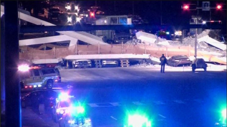 Police say 6 people are dead after a pedestrian bridge collapsed at FIU on Thursday. (CNN Newsource)