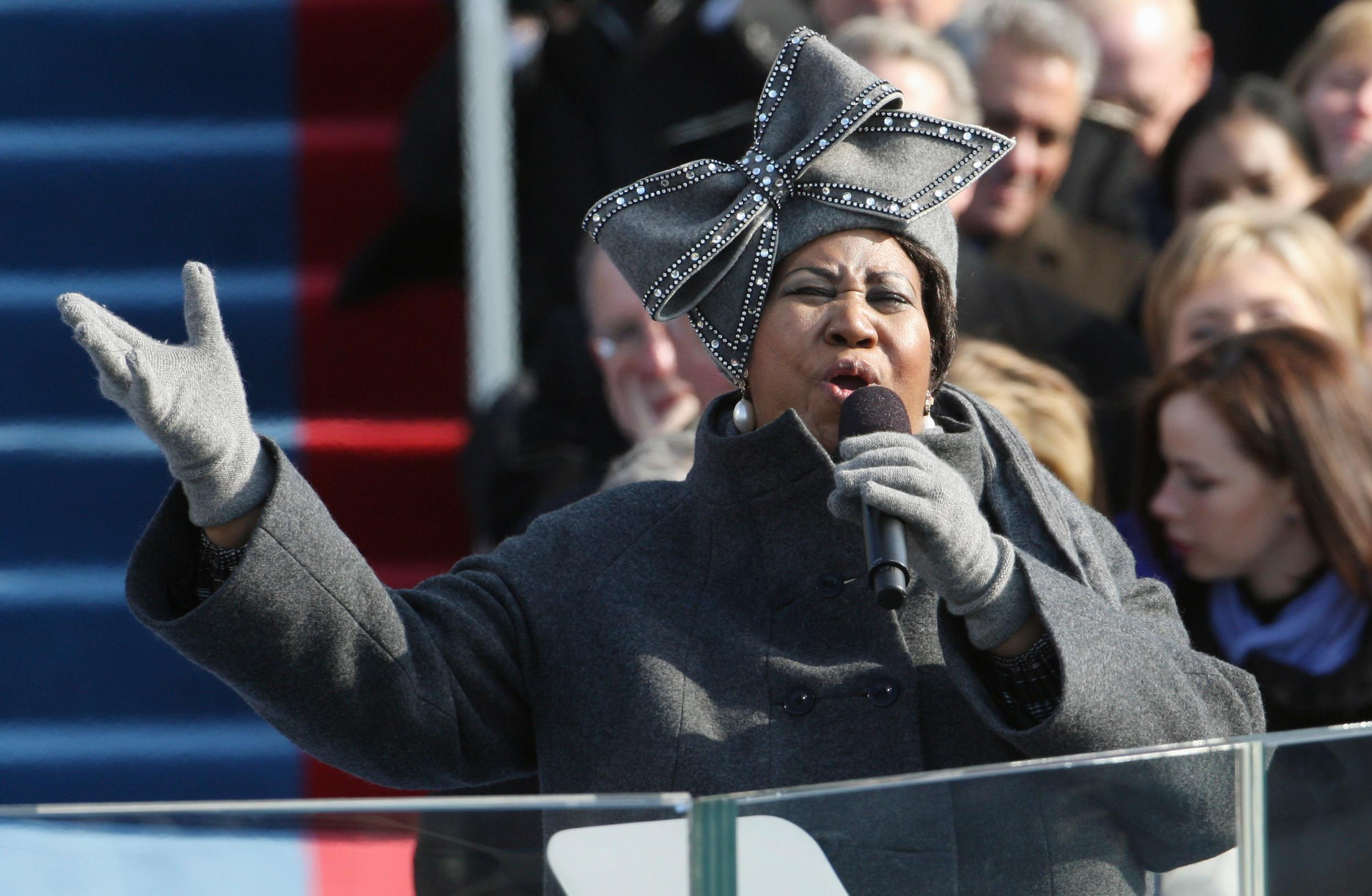 FILE - In this Jan. 20, 2009 file photo, Aretha Franklin performs at the inauguration for President Barack Obama at the U.S. Capitol in Washington. Franklin died Thursday, Aug. 16, 2018 at her home in Detroit.  She was 76. (AP Photo/Ron Edmonds, File)