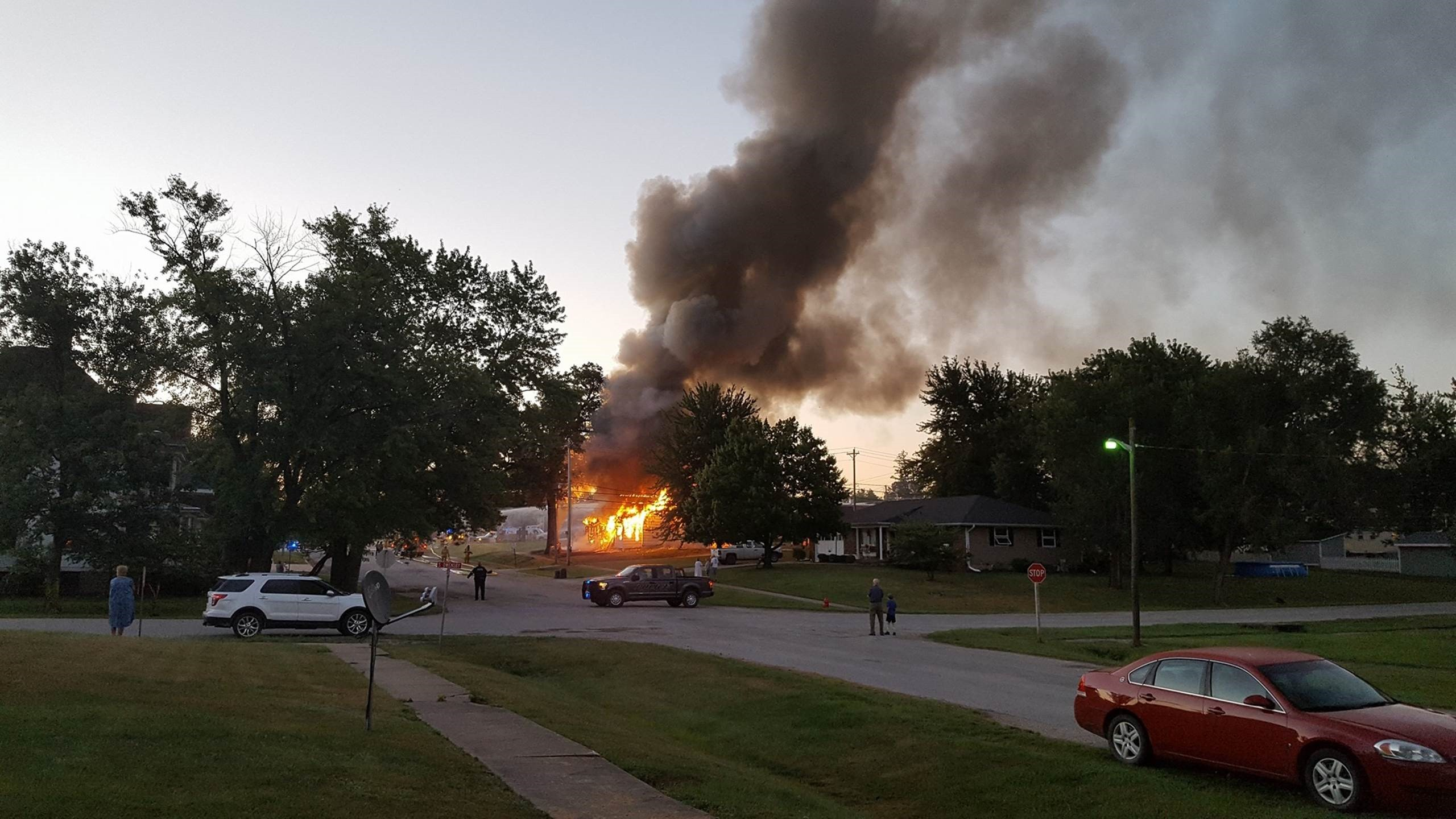 Crews battled a fully engulfed fire at a house in La Plata Tuesday morning (Photo courtesy: Teresa Rehm)